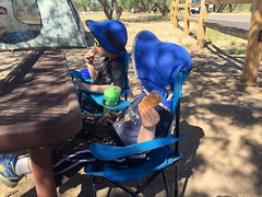 20160423_Ryan_Phone_0004.jpg (Ryan and Shannon Gutenkunst) Tags: camping usa bench tucson az tent snacktime waterbottles granolabars catalinastatepark carsongutenkunst codygutenkunst kidcampingchairs
