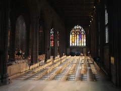 Chairs (sfryers) Tags: colour ex church window glass square manchester pattern cathedral chairs perspective sigma stained rows seats dg 1224 14556
