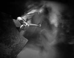 Relative Movement -  the axe man by wheehamx - Pinhole onto 4x5 Ortho 25 - blur achieved by movement only.