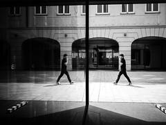 double (Sandy...J) Tags: street city urban bw white man black reflection germany walking bayern deutschland photography mono blackwhite fotografie walk streetphotography stadt sw mann monochrom spiegelung bavarian gehen spazieren schwarzweis strasenfotografie