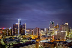 Night lights (Notkalvin) Tags: rooftop skyline architecture night buildings lights evening cityscape outdoor michigan detroit lookingdown expanse motown aftersunset motorcity fromaroof mikekline greektowncasinohotel notkalvin blluehour notkalvinphotography