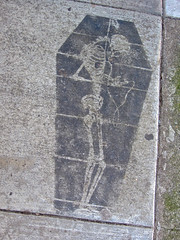 Hanging Skeleton, San Francisco, CA (Robby Virus) Tags: sanfrancisco california art dead skeleton concrete death stencil pavement cement sidewalk hanging corpse coffin hang noose