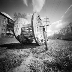 spool (anyurtan) Tags: 120 6x6 film bike bicycle cycling shanghai pinhole homemade biking pinholecamera