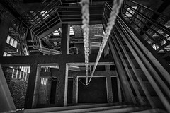 Long Way Down (Geoff Livingston) Tags: rope stairs tower descend fall vertigo monochrome black white