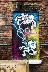 umbilical bunny cat (PDKImages) Tags: art artinthecity manchesterstreetgallery manchester walls murals beauty woman lady girl pretty beautiful skull butterfly bee fish chicks alone joker thejoker sinister sneer hidden ladders checks skyline birds