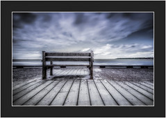 Bench seat with a view (Chas56) Tags: bench seat lines clouds coriobay geelong portphillipbay foreshore sky canon canon5dmkiii water sea seascape landscape