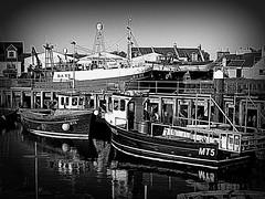 Girvan Harbour (Rollingstone1) Tags: girvan scotland harbour drydock fishingboats vessels water blackandwhite monochrome hdr skyline waterfront boat