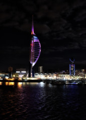 The Spinnaker Tower.. (Harleynik Rides Again.) Tags: d810 nikon spinnakertower nightshot portsmouth harbour neon lights water reflection harleynikridesagain