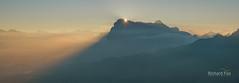 First Peak (http://www.richardfoxphotography.com) Tags: dolomites sassalungo sunrise mountians mist fog foggy tyrol italy