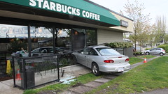 Vehicle Crashes into Starbucks (bcfiretrucks) Tags: door canada broken glass coffee vancouver bc crash accident columbia canadian starbucks british incident collision