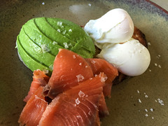 Poached eggs on toast with smoked salmon and avocado at Anvil Coffee Company in Artarmon (ultrakml) Tags: cameraphone food breakfast bread avocado toast egg salmon australia nsw smoked iphone poached artarmon iphone6 anvilcoffeecompany