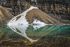 Mountains and reflections (Brett of Binnshire) Tags: mountain lake snow canada mountains water weather scenic alberta lakelouise hdr highdynamicrange banffnationalpark lightroomhdr lrhdr