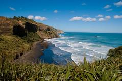 Blue seas, green shores, black beaches (Sun Spiral) Tags: newzealand beach surf waves northisland aotearoa muriwai