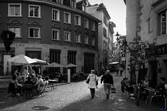 in the alleys of Zurich (desmokurt1) Tags: bw monochrome schweiz switzerland downtown fuji suisse zurich menschen sw zrich niederdorf zurigo einfarbig fujixt1 kurtessler