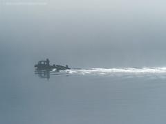 Morning Rush Hour (Mark Zaig) Tags: morning blue water fog river grey boat ripple olympus em1 m43 microfourthirds 40140mmf28