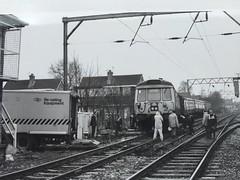 303078 + 47142 Navigation Road, Altrincham 04/02/86 (Neil Altyfan - Railway Photography) Tags: road br navigation derailed blackwhitephotography altrincham 47142 303078 exscottishregionemu 040286