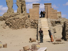 Karanis, North Temple (dr.heatherleemccarthy) Tags: stone clouds stairs temple ancient stonework egypt stairway karanis