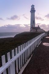 Boxed Beacon (leakylightbucket) Tags: california sunset lighthouse fence evening unitedstates pigeonpoint pescadero