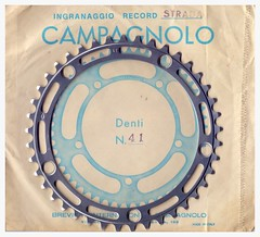 Campagnolo Record 41-tooth Chainring. (Paris-Roubaix) Tags: bicycle sport vintage italian strada record gran components ingranaggio chainring campagnolo nuovo 41tooth