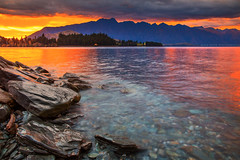 Morning Has Broken || QUEENSTOWN || NEW ZEALAND (rhyspope) Tags: new sky lake pope mountains color colour nature water sunrise canon island rocks south zealand nz queenstown 5d remarkables wakatipu rhys mkii rhyspope