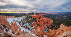 Rainbow Point - Bryce Canyon Panorama (danielacon15) Tags: travel sunset panorama usa snow nature point landscape utah nationalpark interesting rainbow colorful erosion depression destination bryce brycecanyon patches hoodoos amphiteather