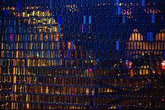 Harpa (Mark Liddell) Tags: reykjavk reykjavik iceland island harpa concert hall concerthall harpaconcerthall geometric glass stained window pane reflection night transparent blue colours colorful steel framework panels travel europe buildings architecture capital city urban