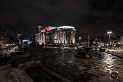 St Georges Lair (alun.disley@ntlworld.com) Tags: liverpool stgeorgeshall stgeorgesplateau night longexposure architecture buildings city cityscape weather steblefountain wetfloor reflections trees limestreet clouds radiocitytower merseyside uk citycenter cobbledstreets