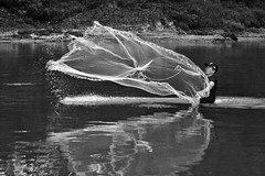 Rio Envira fisherman (Jamie B Ernstein) Tags: rioenviron feijo acre brazil nikon river rio beach water fisherman net fishing fishingnet action blackandwhite monochrome man reflection