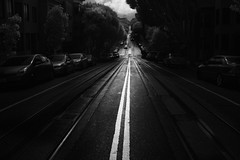 streets of San Francisco (Andy Kennelly) Tags: streets san francisco bw road street cable car hills asphalt
