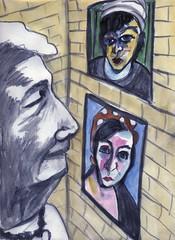 Lucy's Corner (Gila Mosaics n'stuff) Tags: portrait art artist mixedmedia portraitparty jkpp