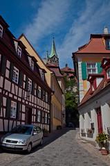Side Street in Bamberg DSC_4461 (Katrina Wright) Tags: houses germany bamberg cobbles coloured