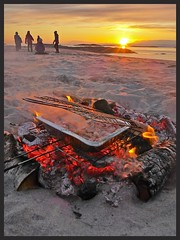 1 Mai. (sivert10) Tags: sunset people food sun norway dinner fire sand salmon