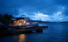 Late night at the docks (dan.kristiansen) Tags: sea summer night coast boat twilight dock waterfront yacht sommer quay latenight kai fjord bluehour natt bt skumring sj grandbanks kyst bltime storsundet tussmrke