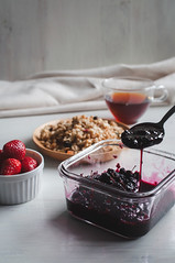 Breakfast with my handmade mullberry jam (Picocoon) Tags: morning food black fruit breakfast healthy strawberry tea cereal container health jam mullberry lobsterfood