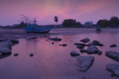 The fishing boat on the sea shore (Pond Pisut) Tags: longexposure sea seascape nature landscape boat twilight fishing natural dusk shore the naturelover naturescape d7000 landscapelover