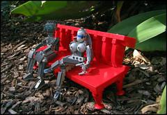 """Sooo....Come here often..."" (Karf Oohlu) Tags: garden bench lego parkbench mecha droid bot boygirl moc inthegarden pickupartist"