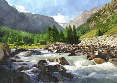 Watercolor, Pont Valsavarenche (enzo rettori) Tags: mountain alps water stream torrent aostavalley valsavarenche