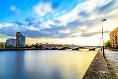 Sunset at Putney (kl1809) Tags: longexposure bridge blue sunset cloud london yellow canon river evening colourful riverbank thamesriver putney nisi slowshutterspeed putneybridge nd1000 canon5dmarkii