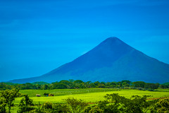 Volcan Momotombo appears on the edge of this farmers' field.