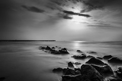 Rhythm of Nature (Vilvesh) Tags: longexposure morning sea art beach nature clouds canon photography pier rocks seashore cwc sigma1020mm ndfilter longeposure ennore chennaiweekendclickers cwcwalk thalanukuppam
