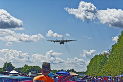 Heads up! (SteveMather) Tags: military transport flyby flyover nikon d7100 dxo opticspro 2016 wingsnwheels sloas airfield youngstownwarren yng warren ohio topaz clean anthropics smartphotoeditor spe thunderpig