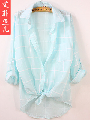 Thin summer sunscreen clothing in Plaid Shirt women long loose shirt female Beach Sun dress blouse