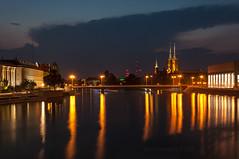 Urban landscape of Wroclaw (Grzesiek.) Tags: poland wrocaw wroclaw odra oder reflection cathedral sky cloud niebo chmury katedra dusk zmierzch esk