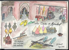 Sketchnotes - Marrakech, Maroc (Claudio Nichele (@jihan65 on Twitter)) Tags: marrakech maroc morocco sketchnotes sketch sketchnote drawing dessin watercolor watercolour acquarello aquarelle souk souks médina medina artisans magasin shops épices spices tapis carpets