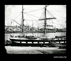 The DURBAN CASTLE at Circular Quay with SOBRAON in background (Australian National Maritime Museum on The Commons) Tags: hmastingira navy sailors bwphotograph nsssobraon sydneyharbour rosebay berrysbay
