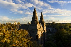 An autumnal view of St Machar Cathedral (iancowe) Tags: stmacharcathedral st machar cathedral aberdeen old medieval tower towers chanonry autumn autumnal tree aerial drone dji scotland scottish seaton park