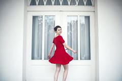 Monika.03 (guzik_) Tags: door red white house architecture lady contrast 50mm nikon dress dancing 50mm14 pole monica nikkor ladyinred d610