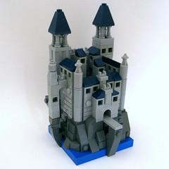Bluewater Castle (Halhi141) Tags: roof castle water rock stone landscape lego mini medieval mico vignette moc microscale foitsop summerjoust2016