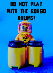 Do not play with the Bongo Drums! (tim constable) Tags: toxic sign yellow warning drums scary funny humorous lego notice joke bongo radiation science humour worried radioactive gasmask minifig masked poison protection chemicals hazard biological advisory scientist poisonous unstable healthandsafety fumes minifigure messaround respirator foolaround protectivesuit timconstable