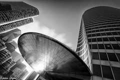The future is now (karmajigme) Tags: city travel blackandwhite paris france monochrome buildings nikon noiretblanc ufo ladéfense